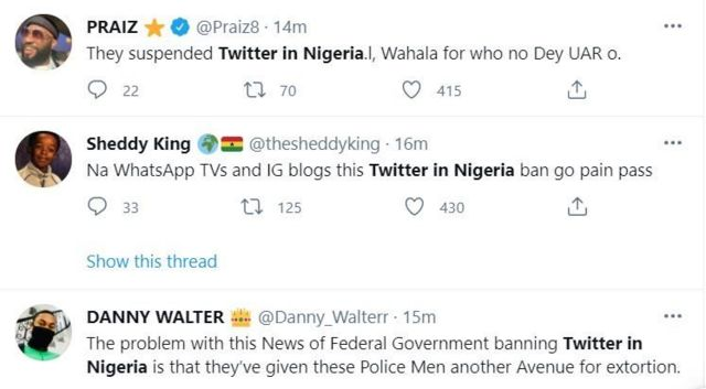 Screenshot of Twitter ban reaction