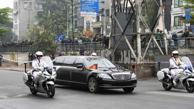 "North Korean leader Kim Jong Un""s motorcade arrive in Hanoi on February 26, 2019"