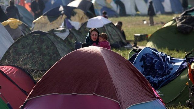 Woman and child at migrant camp in Idomeni, Greece