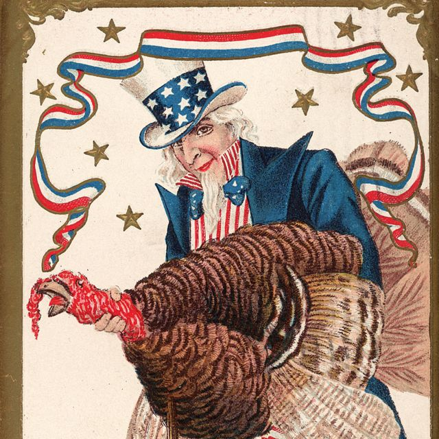Postal de Ação de Graças com o tio Sam enforcando um peru
