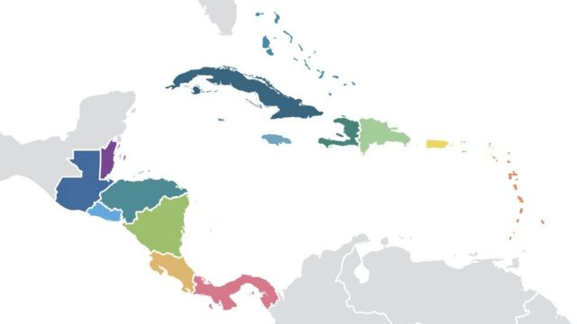Mapa de Centroamérica y el Caribe