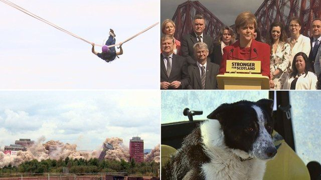 Human slingshot, Nicola Sturgeon and SNP MSPs, Red Road flats and Don the sheepdog