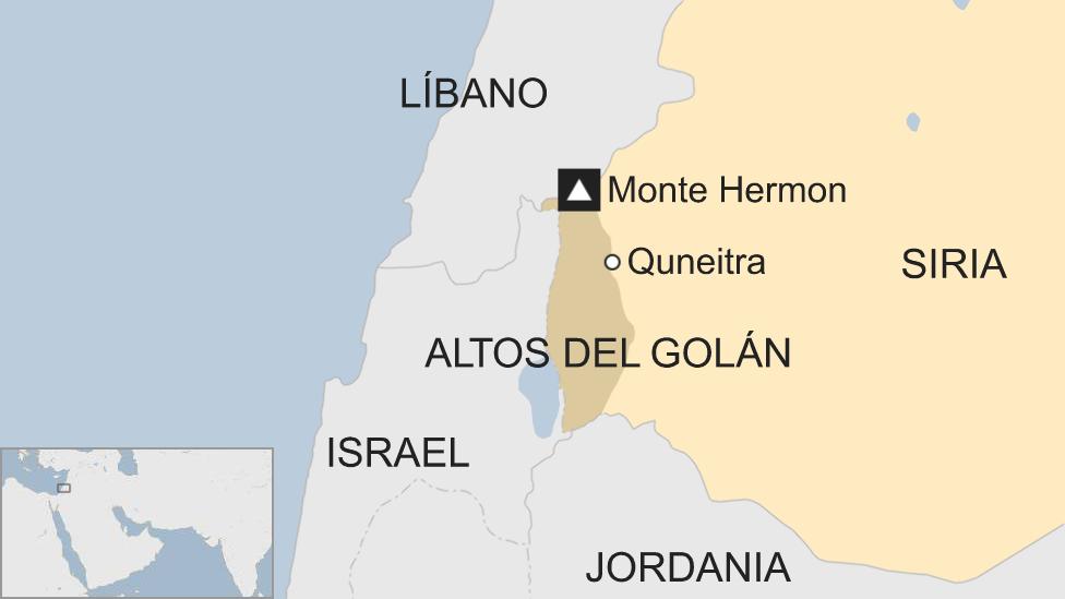 Mapa de la región de los Altos del Golán