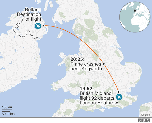 Map showing route of British Midland flight 92