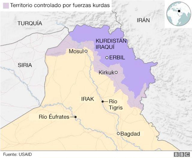 Mapa del territorio controlado por fuerzas kurdas