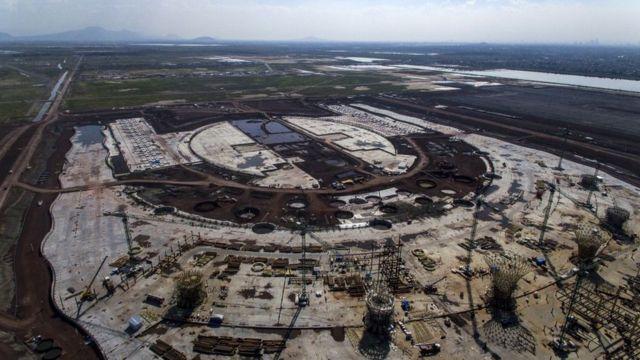 Vista aérea del aeropuerto de México.