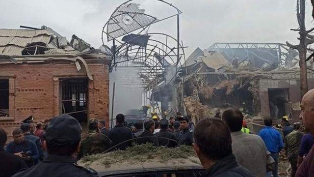 جزء من الدمار في مدينة كنجة في اذربيجان