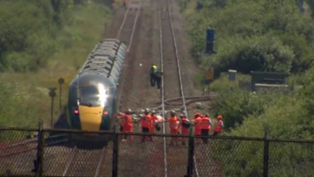 Two railway workers die after being hit by train near Margam