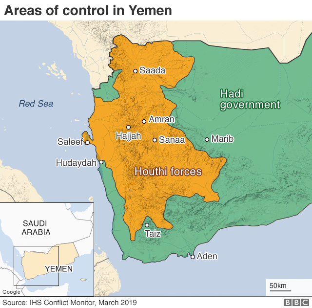 Map showing control of Yemen (March 2019)
