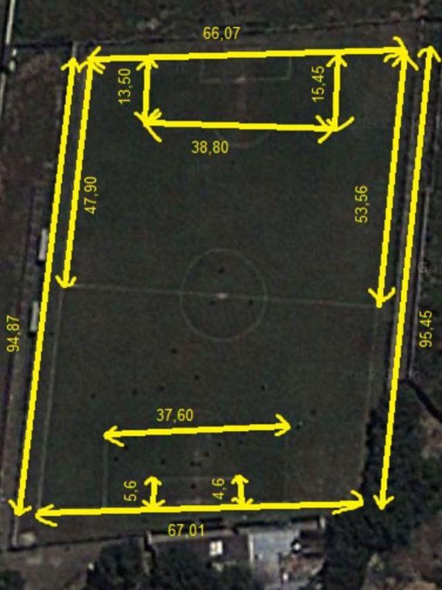 Dimensiones del terreno de juego del estadio Juan Antonio Arias.