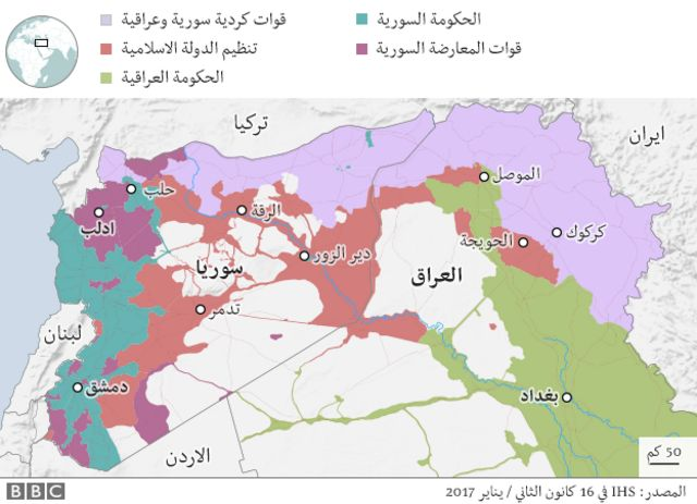 خارطة مناطق سيطرة تنظيم الدولة الاسلامية