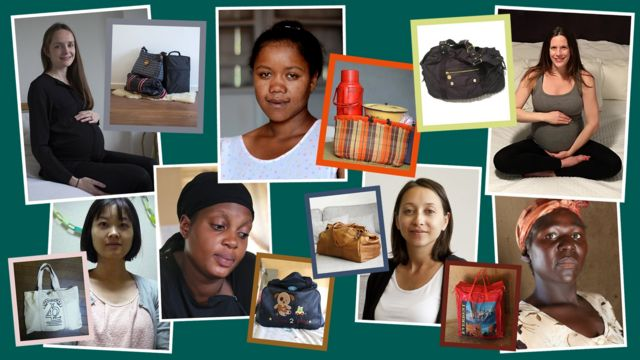 Pregnant women and their maternity bags