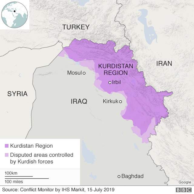 Map showing Kurdistan Region of Iraq and disputed areas controlled by Kurdish forces