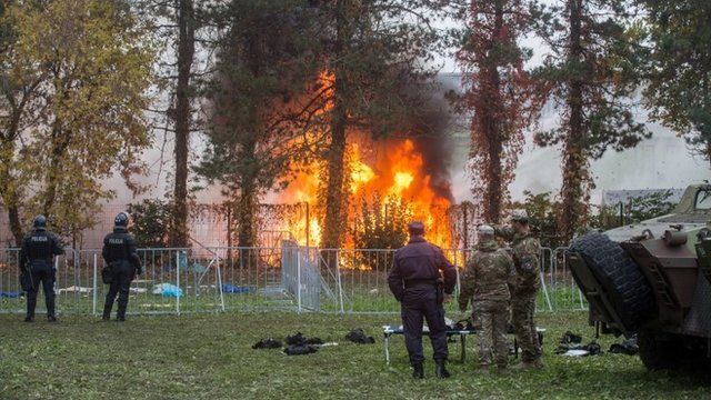 Fire at migrant camp