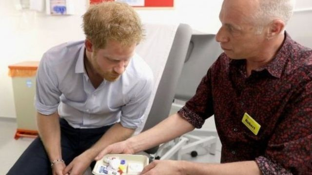 Prince Harry at a sexual health clinic in central London