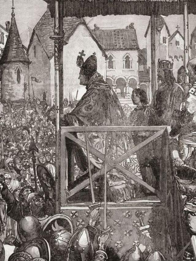 پاپائے روم اربن دوم صلیبی جنگ کی دعوت دیتے ہوئے