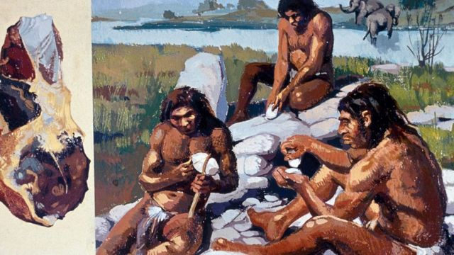 Drawing of a group of Neanderthals