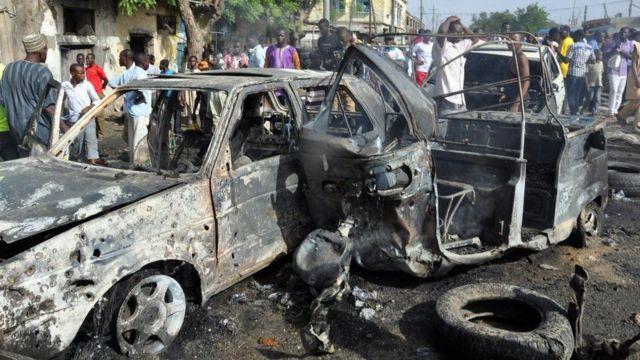 Escena de un atentando de Boko Haram en Nigeria.