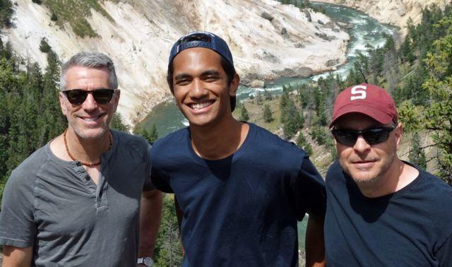 Danny, Kevin y Pete en el Parque Nacional de Yellowstone en 2018.