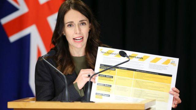 Jacinda Ardern diante de parlatório, com bandeira da Nova Zelândia atrás, mostra cartaz com tabela de escalas de alerta para a pandemia