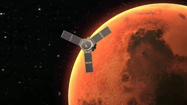 Animation still of UAE's satellite and Mars