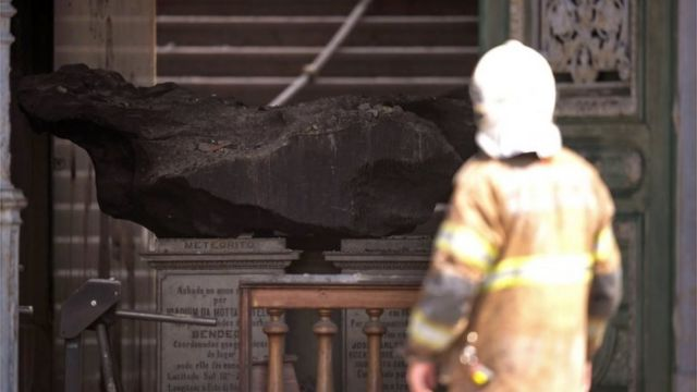 The Bendego meteorite in the National Museum of Brazil in Rio de Janeiro, which was gutted by fire on 2 September 2018