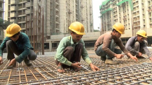 Construction workers in India