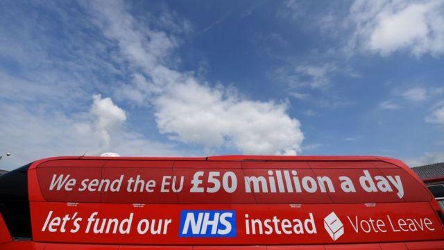 """Ônibus do Brexit, em que se lê: """"Nós enviamos à União Européia 50 milhões de libras por dia. (Vamos usar nosso dinheiro), em vez disso, para financiar o NHS (Serviço Nacional de Saúde)""""."""