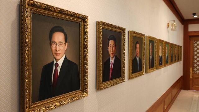 청와대 세종실에 걸려있는 역대 대통령 초상화