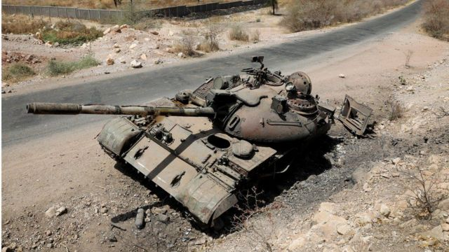 A picture from last March of a tank destroyed in the fighting between the Ethiopian government and the Tigrayan forces