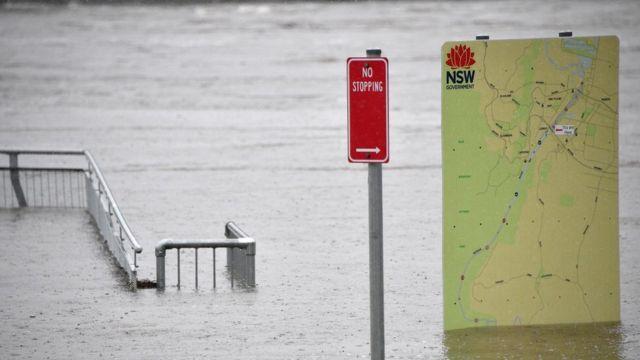 Papan tanda di taman banjir