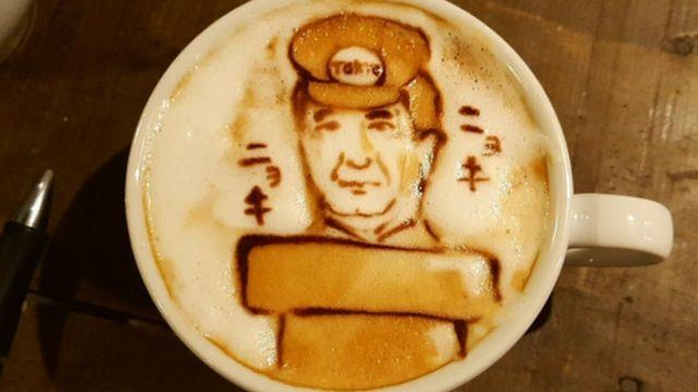 PM Shinzo Abe pictured in a coffee art design