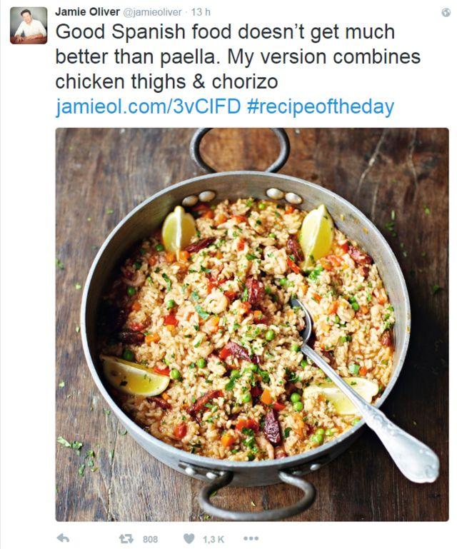 Jamie Oliver compartió su receta de paella