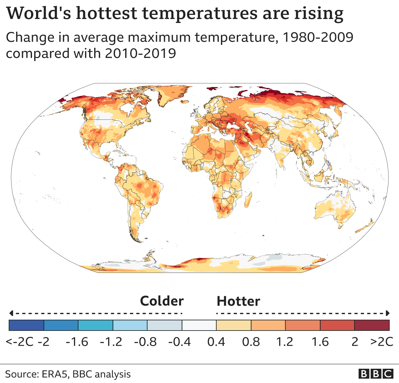 World map showing change in average maximum temperatures between the last decade and the reference period of 1980-2009