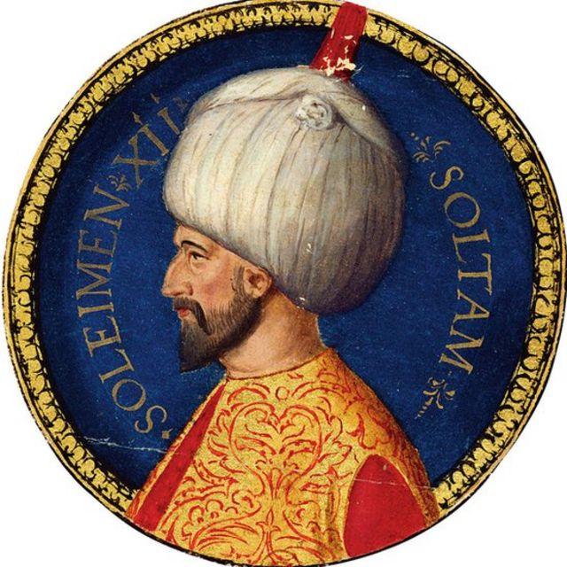 Pintura com rosto do sultão Solimão.