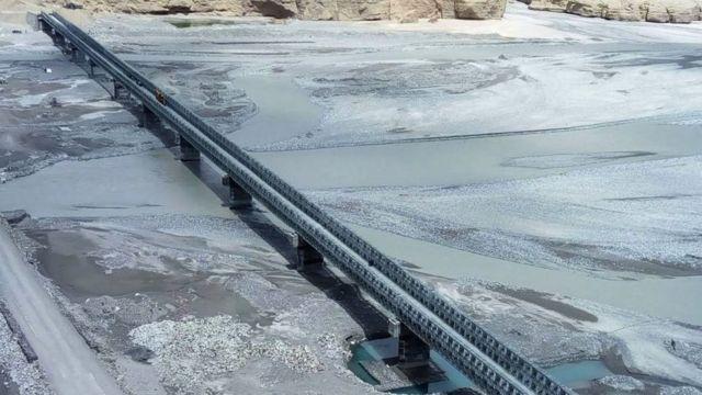 'Col Chewang Rinchen Setu', a bridge built by Border Roads Organisation (BRO) over River Shyok, connecting Durbuk and Daulat Beg Oldie in Eastern Ladakh
