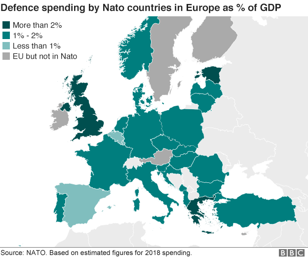 Map of Nato defence spending according to 2018 estimates