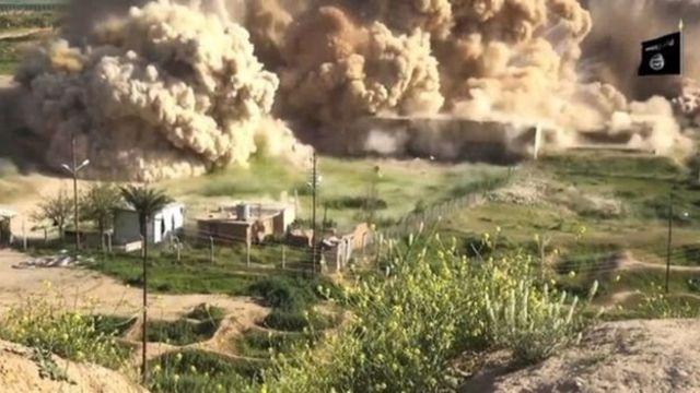 نشر تنظيم الدولة الإسلامية مقطعا مصورا في 2015 لعمليات تدمير معالم المدينة الأثرية
