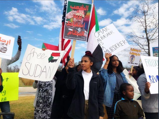 متظاهرون في الولايات المتحدة تضامناً مع السودانيين في السودان