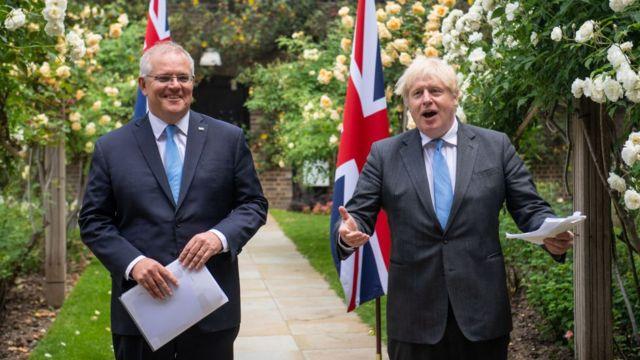Boris Johnson y el primer ministro de Austrlia Scott Morrison.