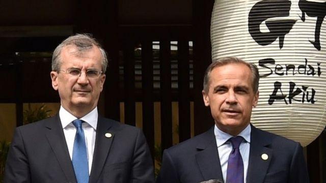 Fransa Merkez Bankası Başkanı François Villeroy de Galhau ve İngiltere Merkez Bankası Başkanı Mark Carney