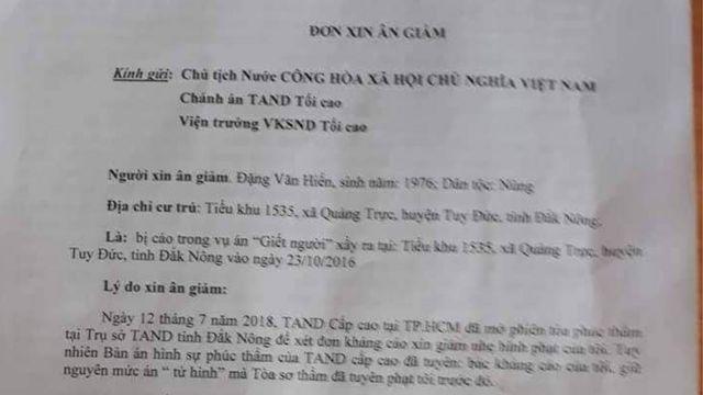 Đơn xin ân giảm của Đặng Văn Hiến mà luật sư Nguyễn Kiều Hưng công bố trên Facebook