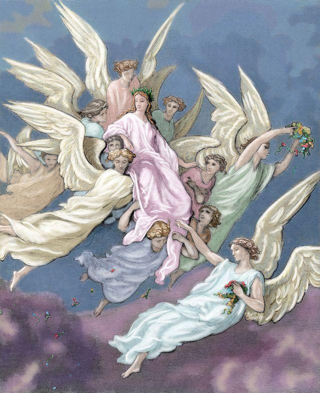 Trigésimo Canto del Purgatorio. Aparición de Beatrice. Grabado de Gustave Doré.
