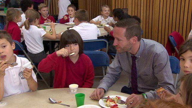 Mark Tuffney with school children