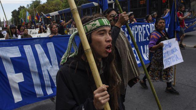 Manifestantes durante ato no Chile