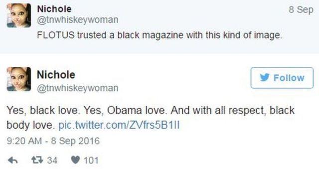 「FLOTUSは黒人雑誌にこんな写真を撮らせたのか」「そう、ブラック・ラブ(黒人同志の愛)だよ。慎んで言いますけど、黒人ボディーの愛」