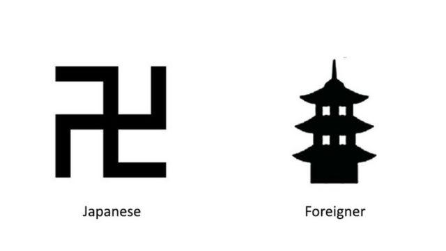 新たに提案された寺の地図記号(右)
