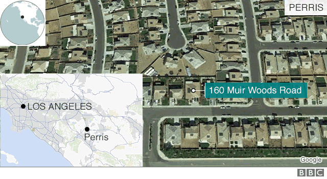 Map shows the location of the Turpin family home