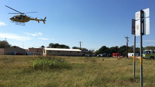 Helicóptero en el sur de Texas, tras producirse un tiroteo.