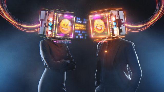 Imagen figurativa de una pareja con pantallas en lugar de caras